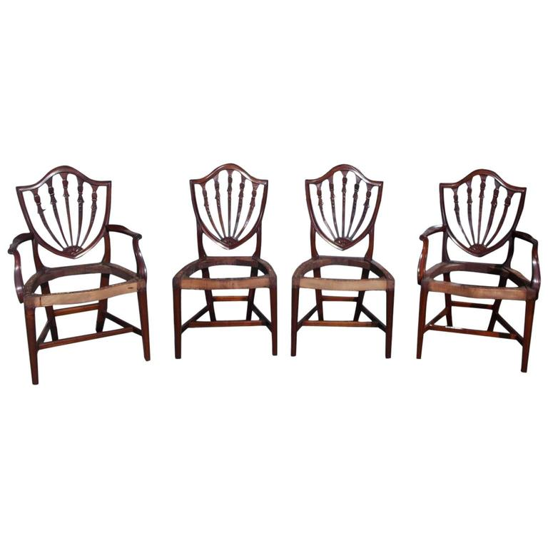 Eight American Hepplewhite Mahogany Shield Back Dining Room Chairs , Circa 1820