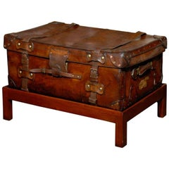 English 19th Century Leather Travel Trunk on Rectangular Mahogany Wooden Stand