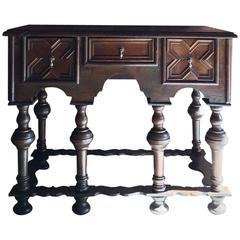Antique Lowboy Sideboard Dresser Rustic Solid Oak Carved, 19th Century