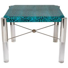 1970's Mid-Century Modern Turquoise Snakeskin Game Table