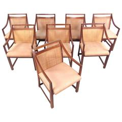 Set of Mid-Century Modern Cane Back Dining Chairs