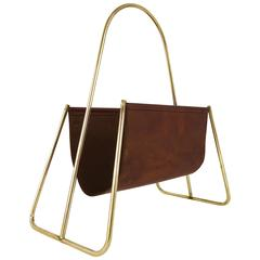 Carl Auböck Mid-Century News Rack, Brass, Brown Leather, Austria, 1950s