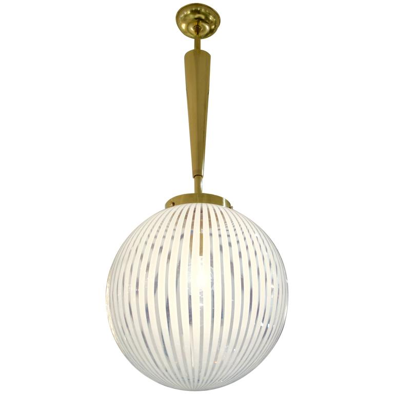 Italian Mid-Century Striped Murano Glass Globe or Chandelier
