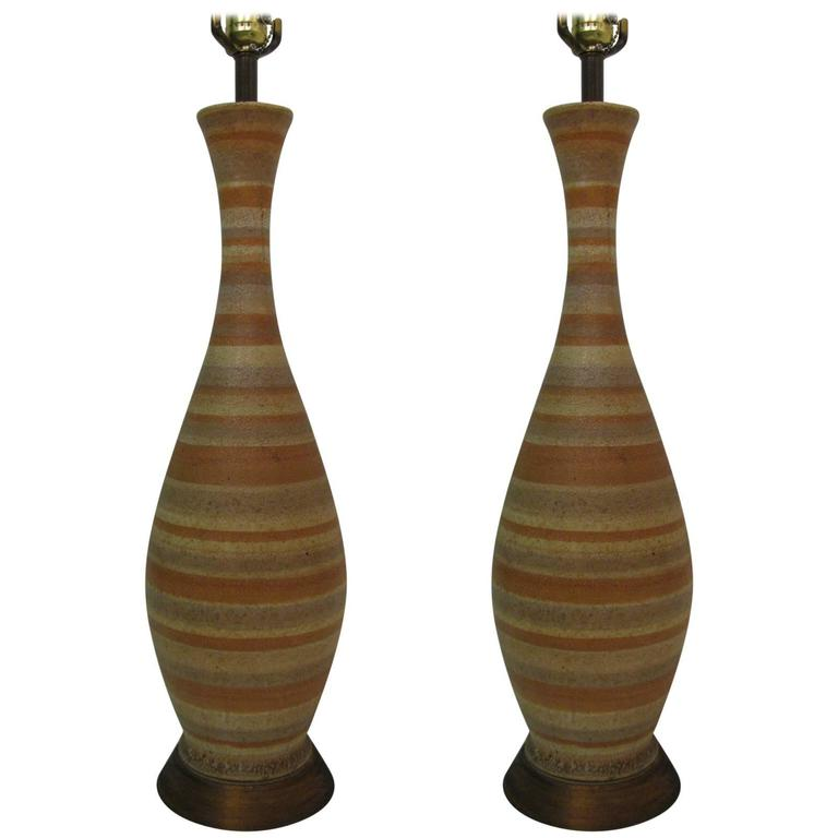 Pair of Mid-Century Modern Striped Pottery Table Lamps