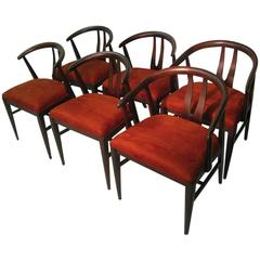 Set of Six Mid-Century Modern Wishbone Chairs in the Style of Hans Wegner