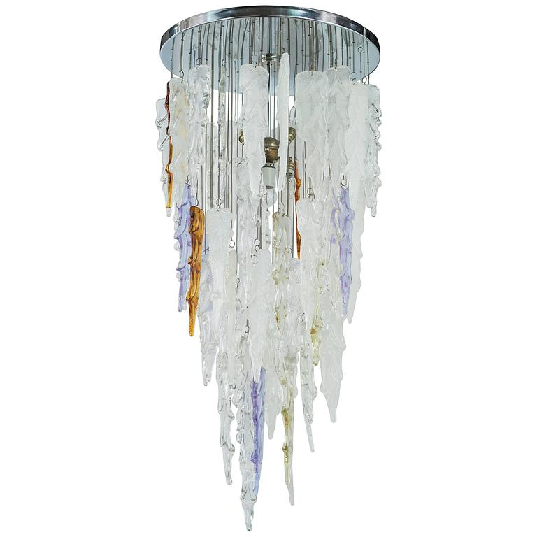 Rare Mid Century Modern Murano Icicle Chandelier by Mazzega For Sale
