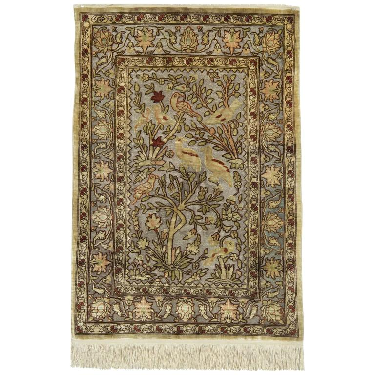 Pure Silk Rugs, Metallic Pictorial Turkish Rugs,  Hereke Carpet