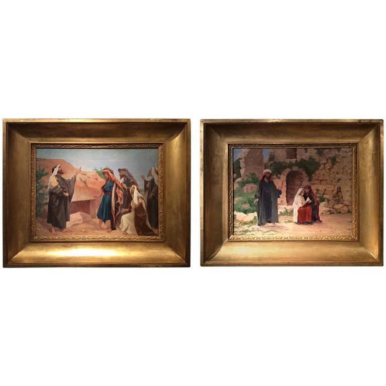 Pair of Oil on Canvas Illustrating Scenes of the Bible, France, circa 1900s