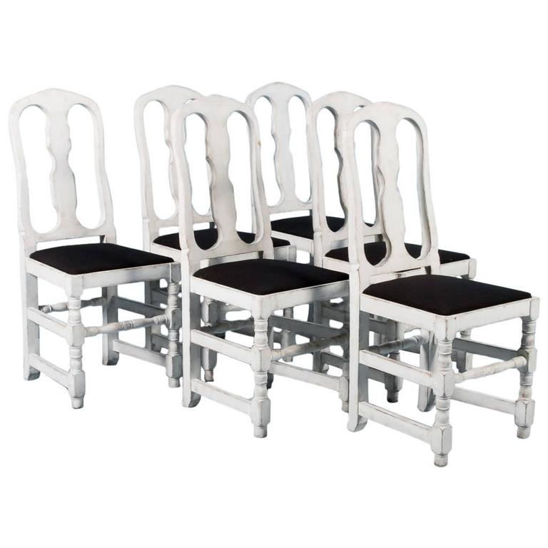 Set of Six Antique Swedish Side Chairs Painted Gray, circa 1820-1840