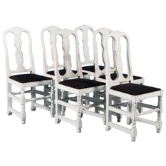 Set of Six Antique Swedish Side Chairs Painted White