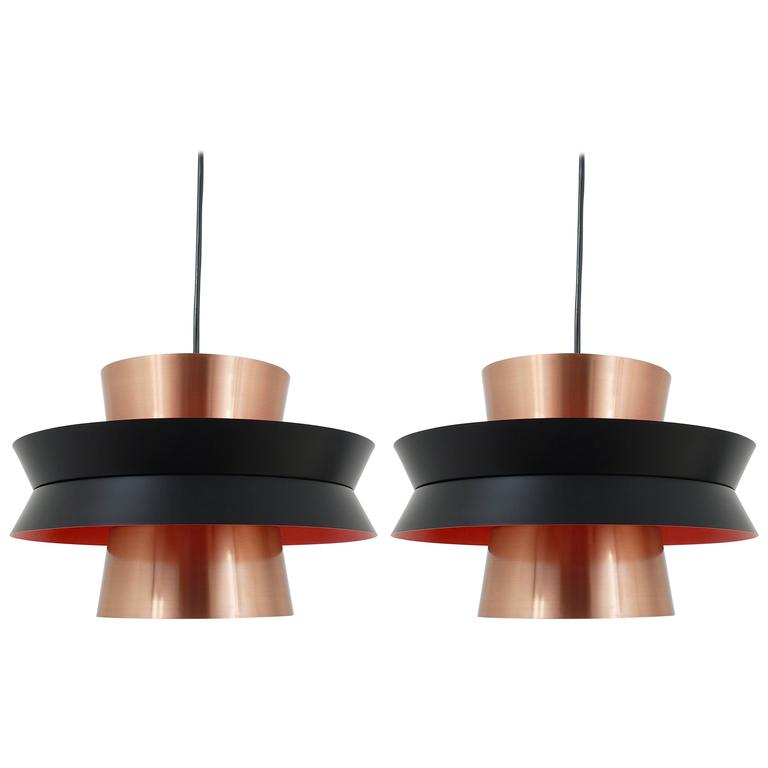 Superieur Three Mid Century Copper Pendant Lights, Carl Thore For Granhaga, Sweden,  1960s
