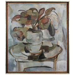 Mid-Century Modernist Floral Still Life on Canvas