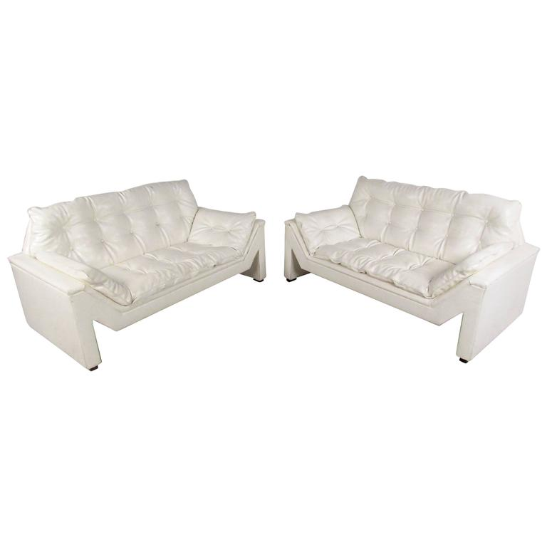 Matched Pair Large Modern Loveseats