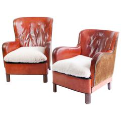 Pair of 1930s Danish Leather Lounge Chairs
