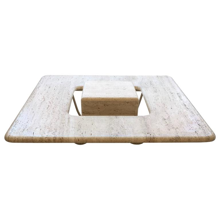Italian Travertine Marble Low Coffee Table With Floating Sculptural Cube At 1stdibs