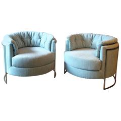 Pair of Milo Baughman Chrome Barrel Club Lounge Chairs