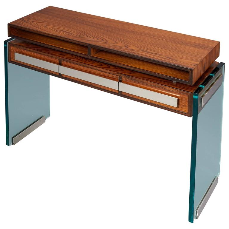 Modernist Rosewood and Glass Console by Roberto Rida,  2016