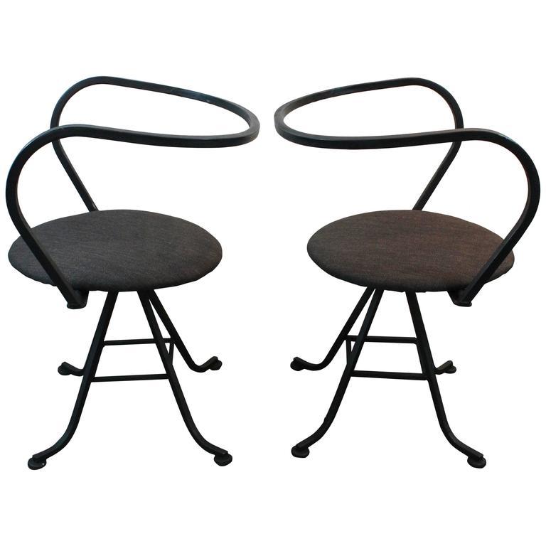 Pair Of Mid Century Modern Minimalist Swivel Iron Chairs