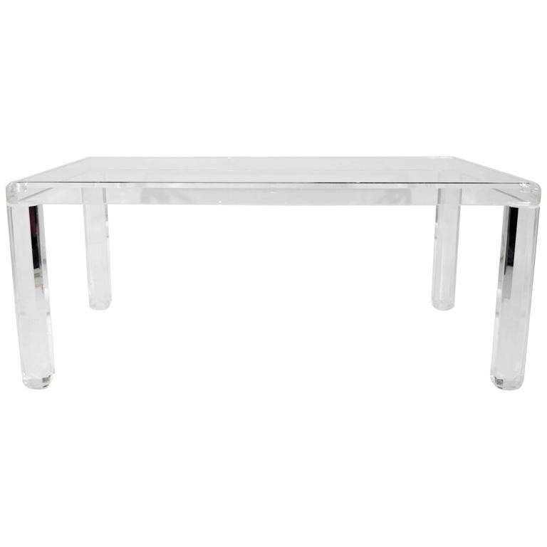 Parsons Style Lucite Dining Table with Glass Top For Sale  : 5513233l from www.1stdibs.com size 768 x 768 jpeg 10kB