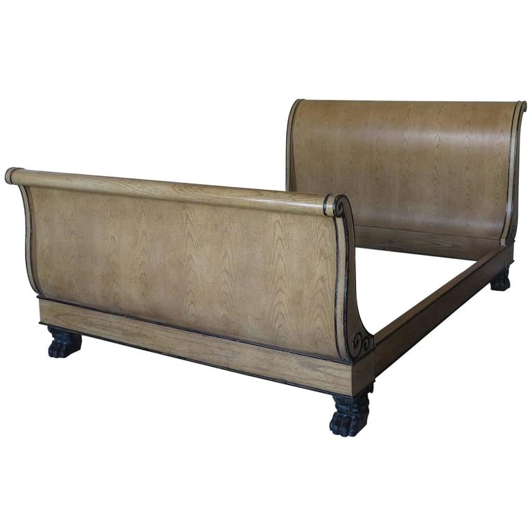sleigh bed frame queen king size mahogany vintage baker
