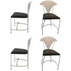 Set of Four Mid-Century Sculptural Iron Chairs