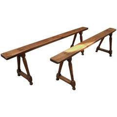 Pair of French 19th Century Walnut Benches