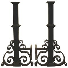 Antique Pair of Cast and Wrought Iron Andirons