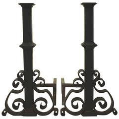 Tall Pair of Cast and Wrought Iron Andirons