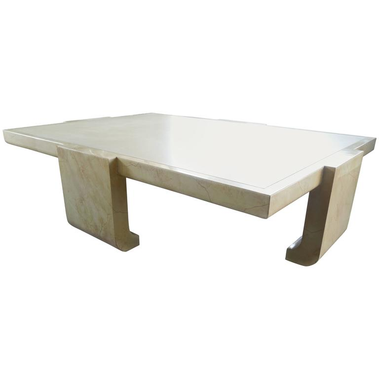 1980s Alessandro For Baker Modern Lacquer And Faux Skin Coffee Table For  Sale