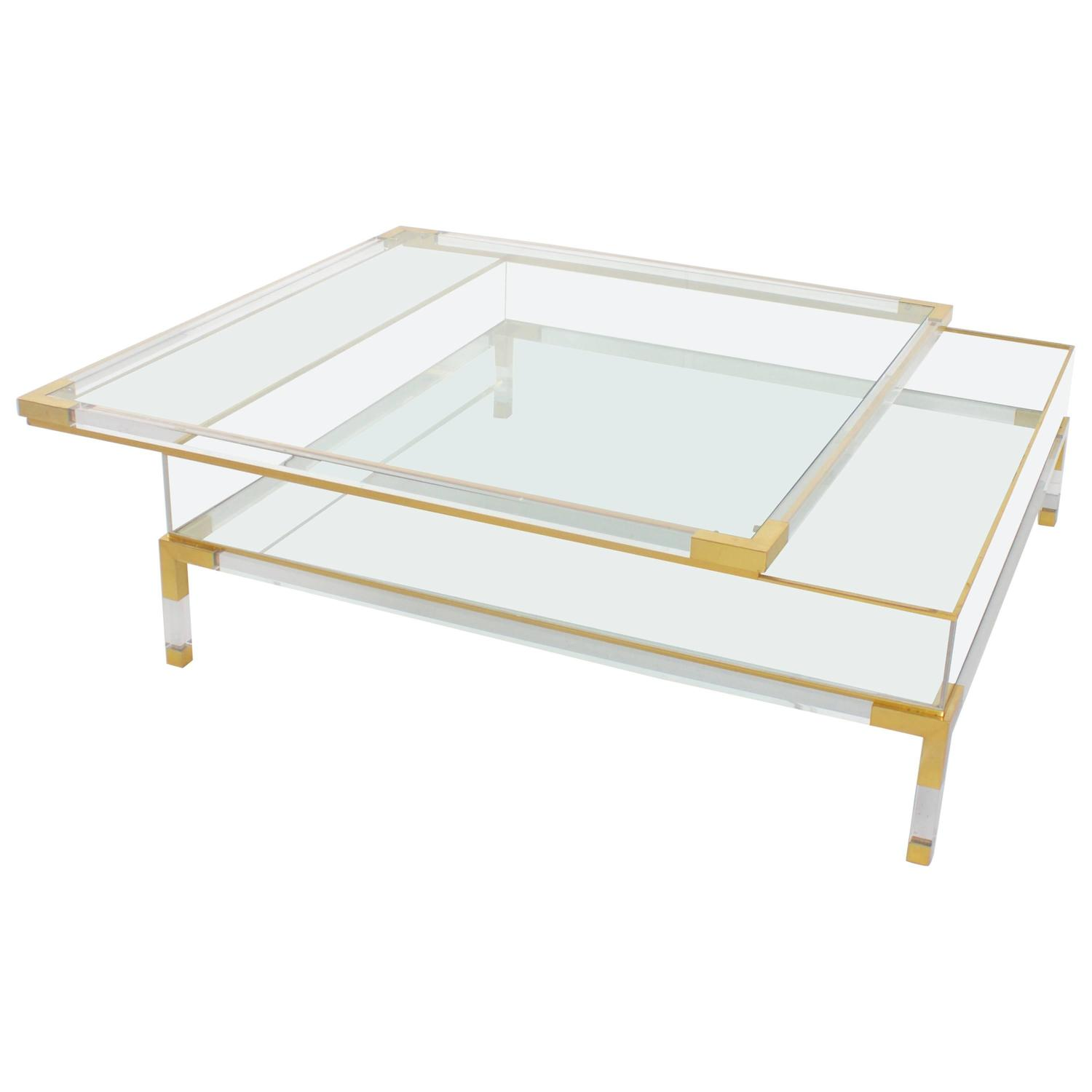 Large maison jansen lucite and brass vitrine coffee table for Lucite and brass coffee table