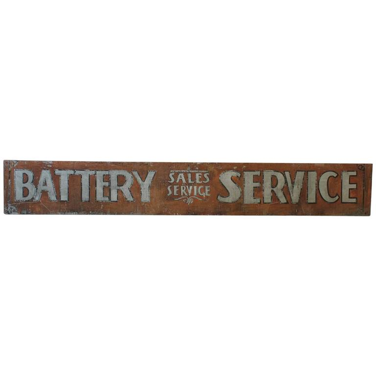 "Early 1900s American Hand-Painted Tin Sign ""Battery Service"" 1"