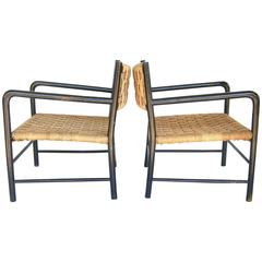 Pair of Stylish Woven French Chairs