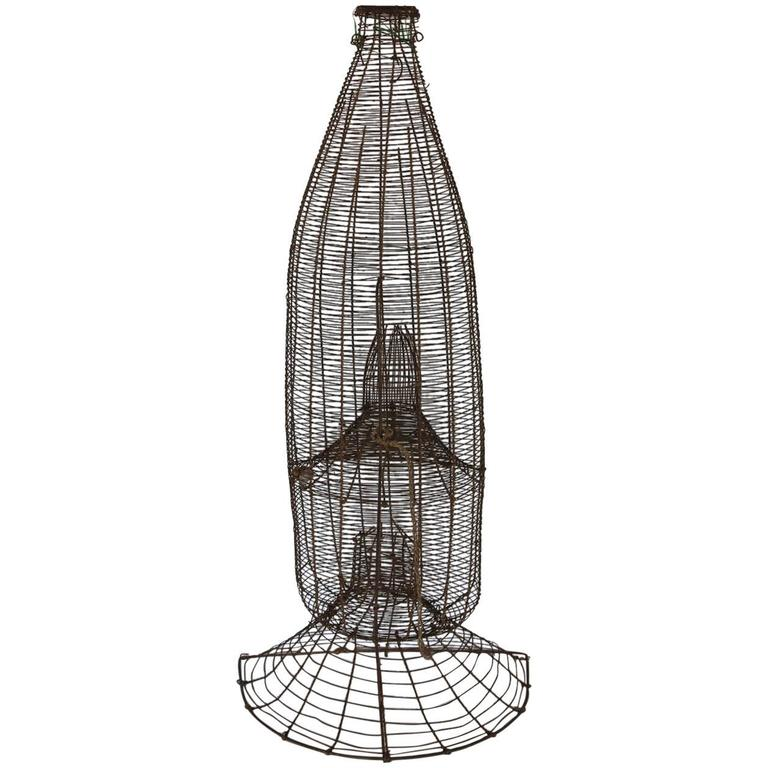 Over Sized American Rare 1900s Metal Wire Fish Trap For Sale At 1stdibs