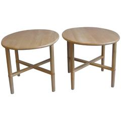 Pair of Oval Handmade Danish End Tables by Haslev