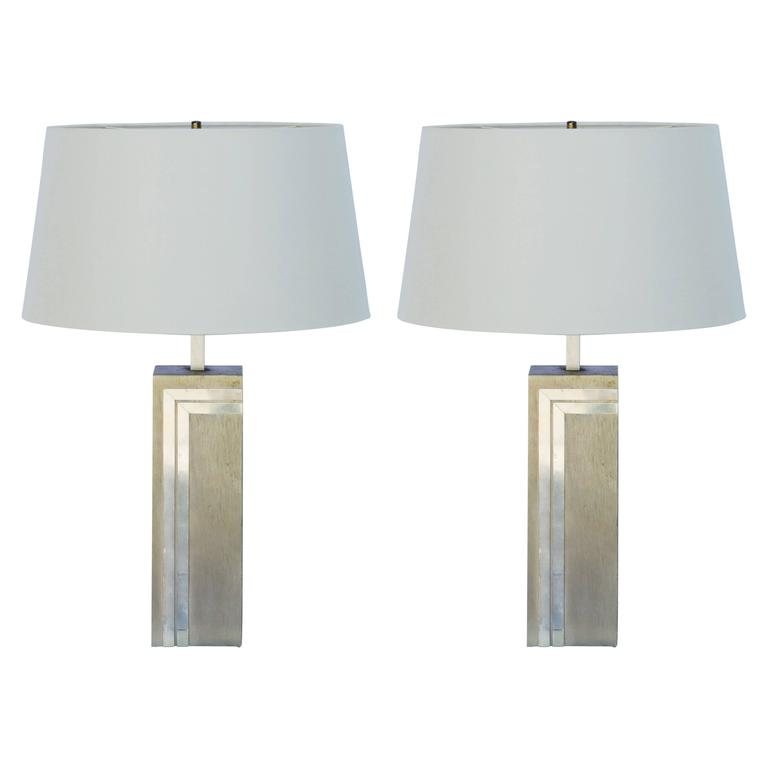 Pair of Brushed Aluninum, Copper and Brass Lamps in the Style of Pierre Cardin