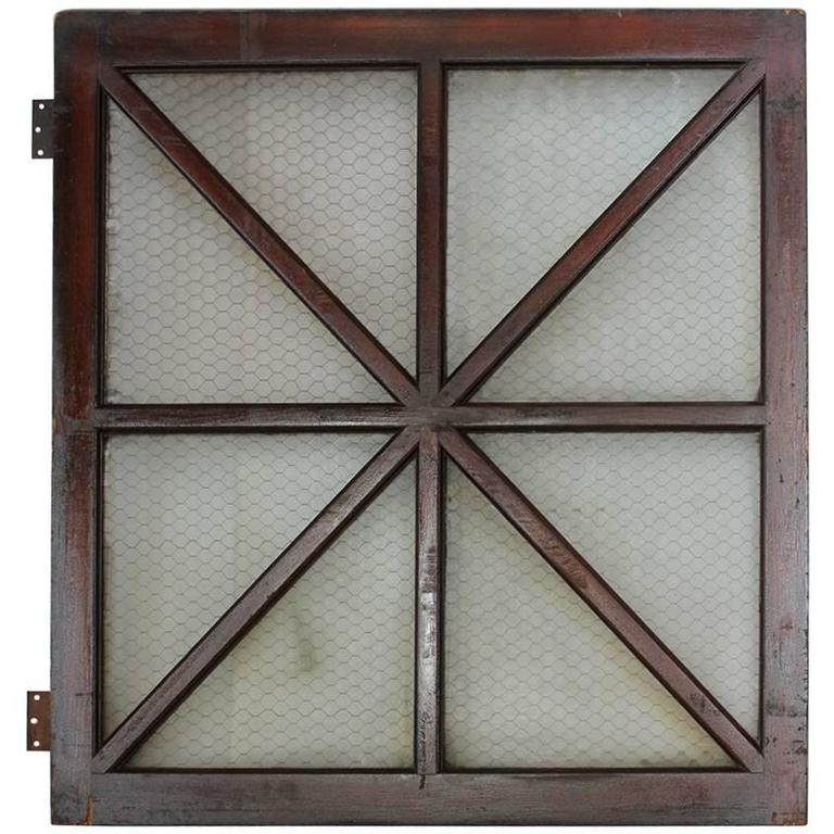 Early 1900s American Wood and Chicken Wire Glass Window, Two Available For Sale