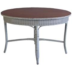 1930s Oval Wicker Table by Heywood Wakefield