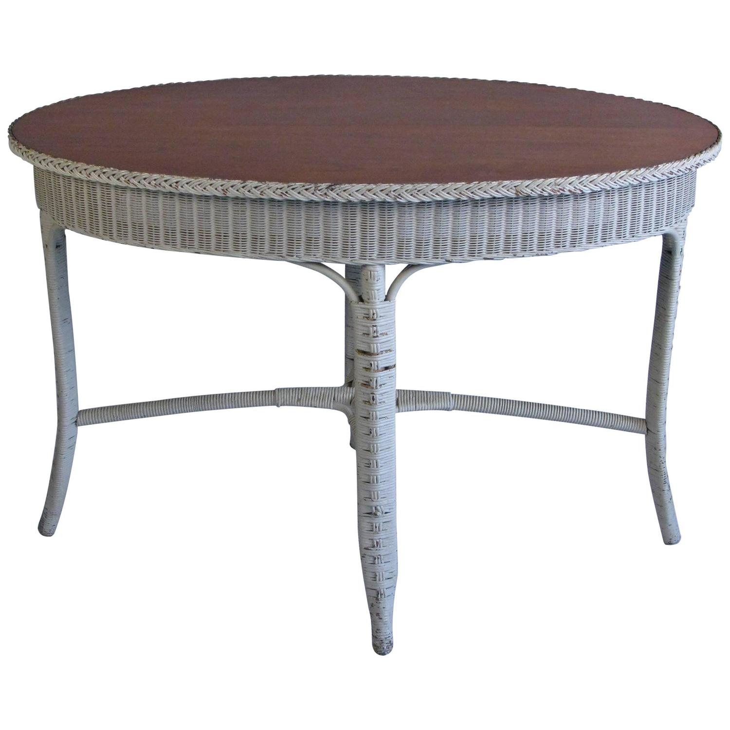 1930s Oval Wicker Table by Heywood Wakefield at 1stdibs
