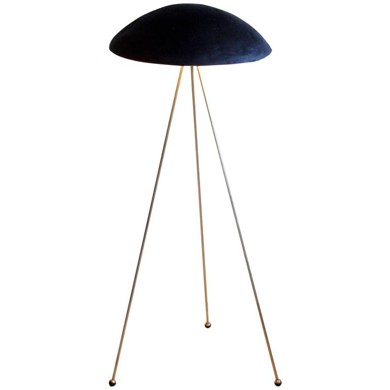 Tall Buddy Floor Lamp with Concrete Noggin and Brass Tripod Legs For Sale