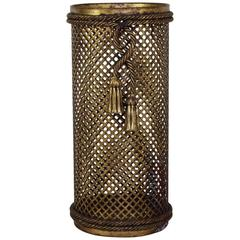France Hollywood Regency Style Gilded Umbrella Stand with Drapery Cord