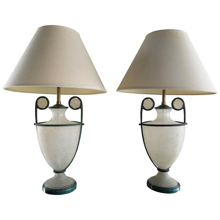 Pair Of Rare 1980s Lamps By Seguso Vetri D Arte In Scarvo