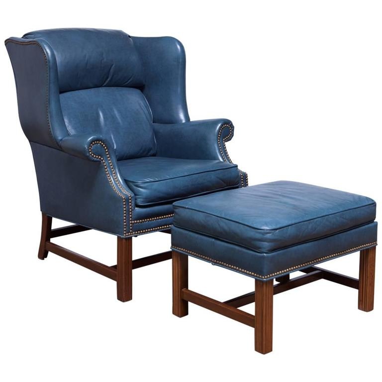 French Blue Chippendale Mahogany Wing Chair By Schafer Brothers For Sale
