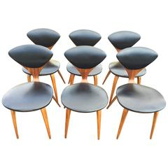 Set of Six Norman Cherner Dining Chairs for Plycraft
