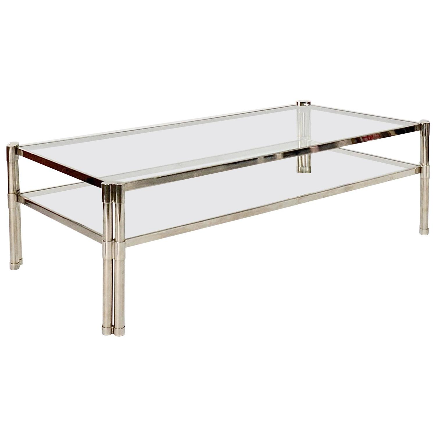 Large Nickel Plated Two Tier Coffee Table At 1stdibs