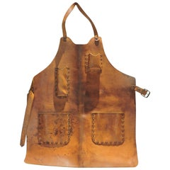 Antique Leather Industrial Blacksmith Sculptors Apron