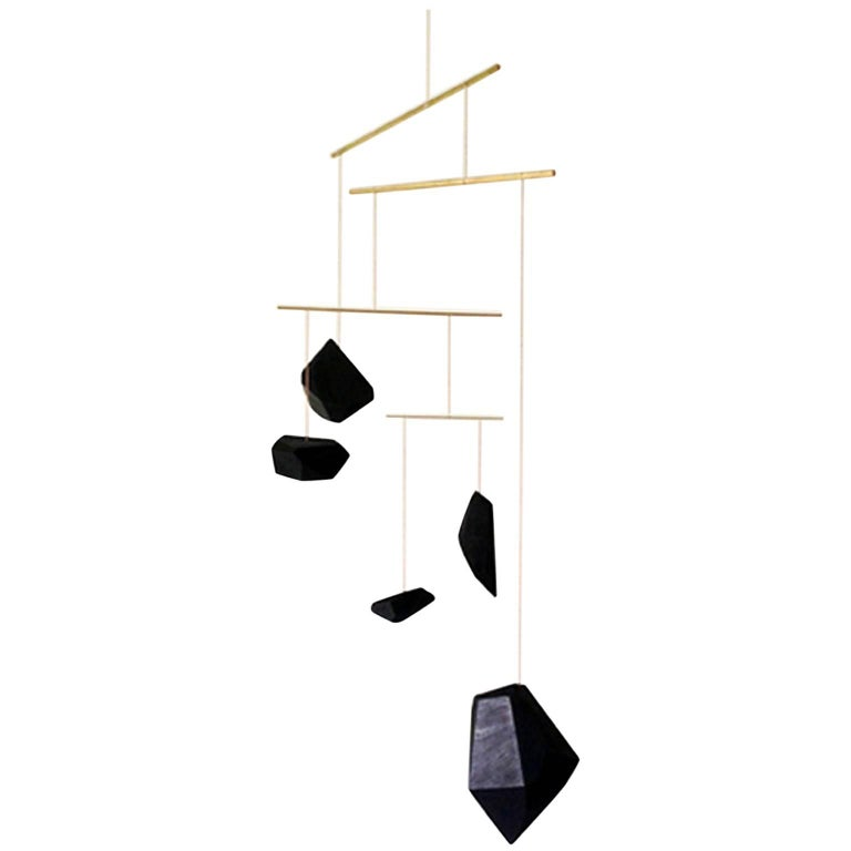 Large Mobile from Faceted Walnut Wood Blocks and Brass