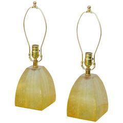Pair of Fractal Resin Mantel Lamps, circa 1960