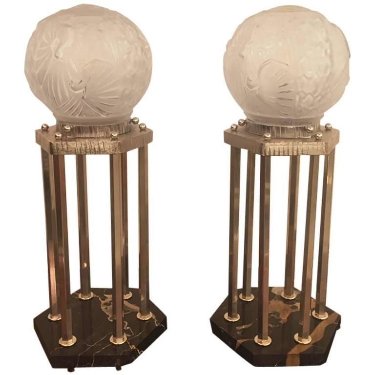 French Art Deco Pair of Table Lamps Signed by Muller Frères