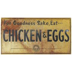 "1950s Metal Sign ""For Goodness Sake, Eat ... Chicken & Eggs"""
