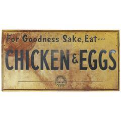 """1950s Metal Sign """"For Goodness Sake, Eat ... Chicken & Eggs"""""""